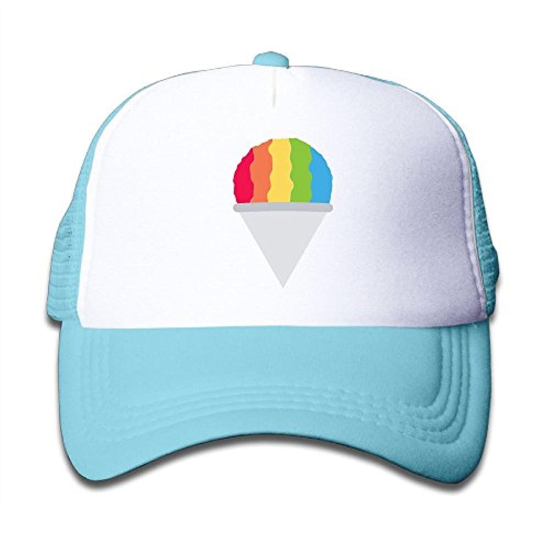 子ども グリッドキャップ虹色 アイスクリームおしゃれな 軽量 メッシュ帽子 オスとメス 通用