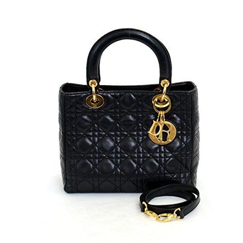 (ディオール)Dior ハンドバッグレディ ディオール ショルダー付き レザー ブラック 中古