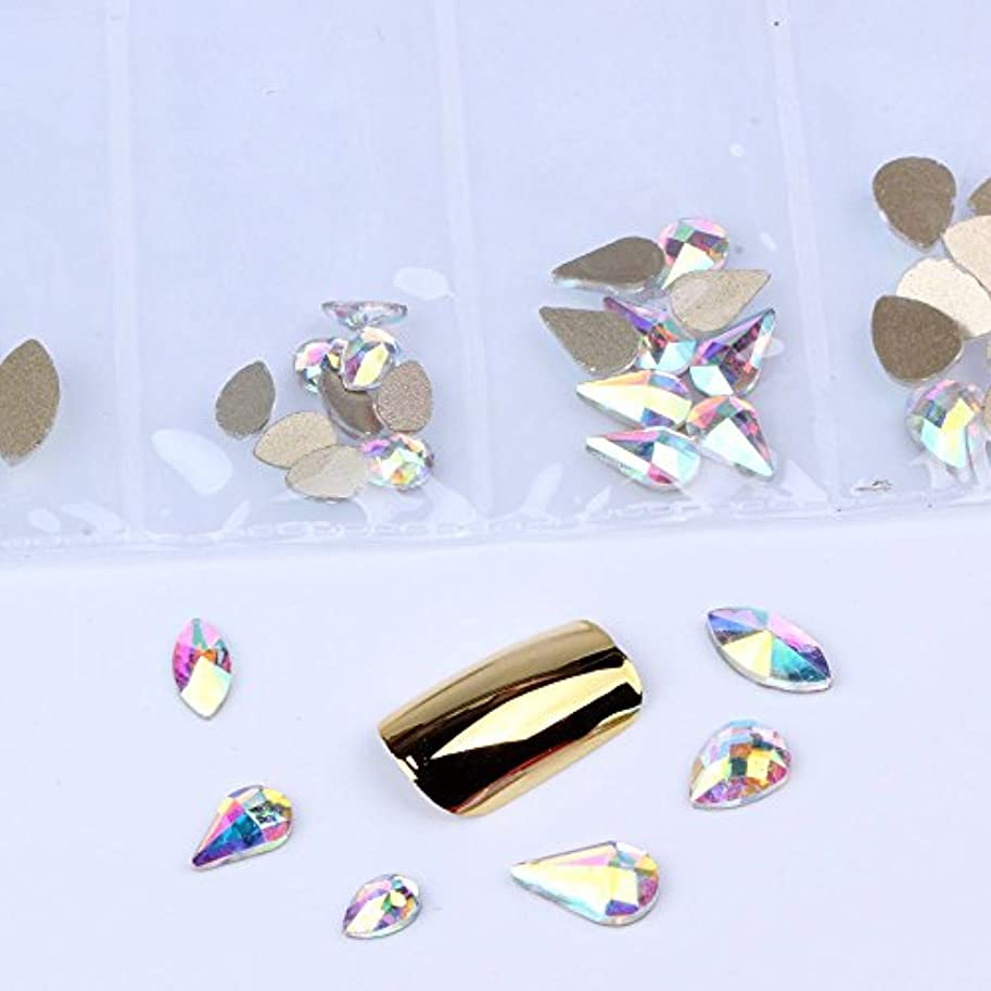 スナップ香ばしいガラス混在6形60pcs / bagガラスネイルアートラインストーンフラットバックネイルステッカーDIYクラフトアート3Dジュエリー衣類装飾宝石