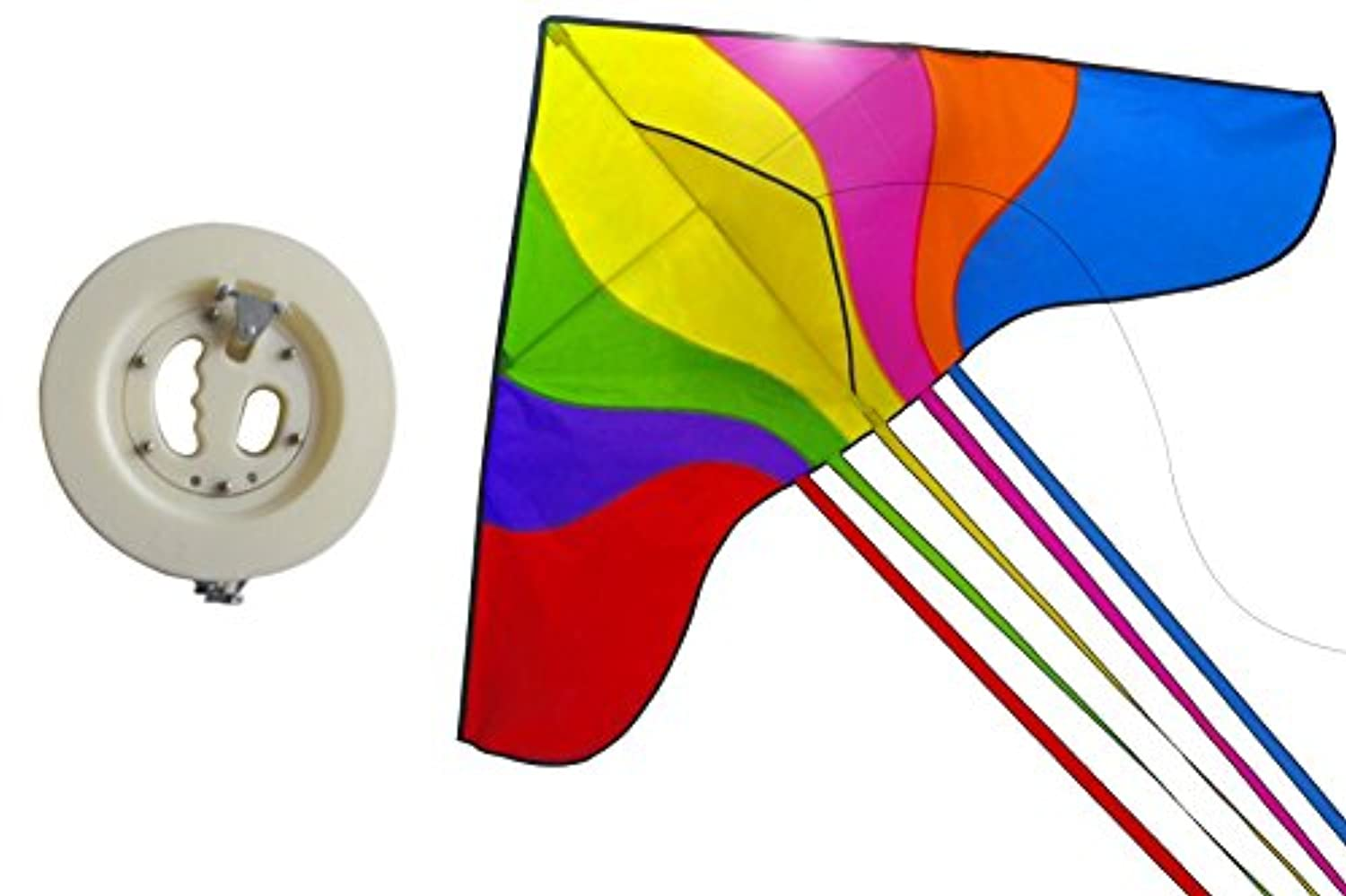 KISSKY 160cm Huge Rainbow Colour Kite with Kite Reel Can Lock,Flying Line Flying Tools