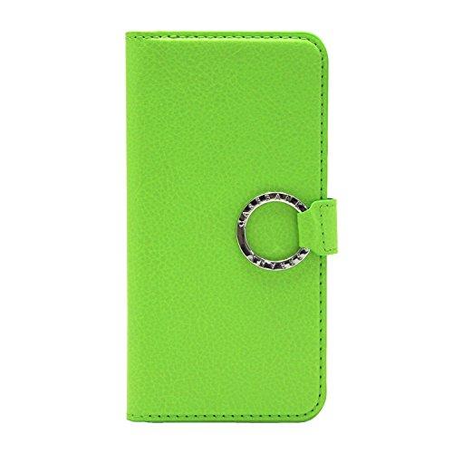 [CASEBANK] リング付き 手帳 ケース iPhone6 / iPhone6s 4.7インチ 落下防止 実用新案取得済 スマホ カバー (グリーン) RING-01-Green