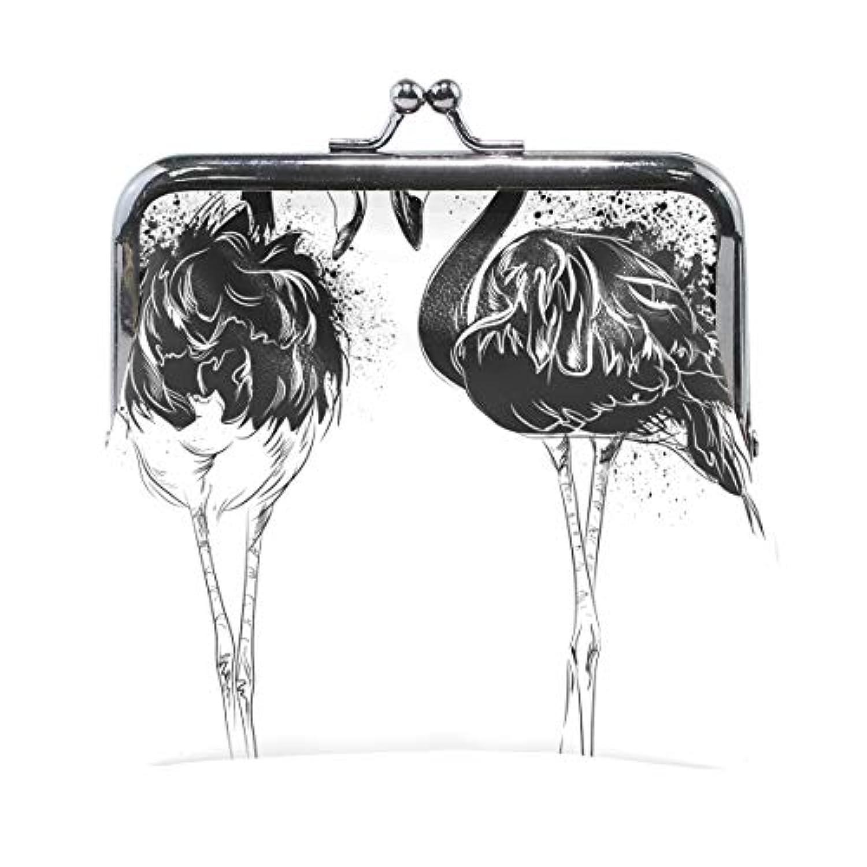 AOMOKI 財布 小銭入れ ガマ口 コインケース レディース メンズ レザー 丸形 おしゃれ プレゼント ギフト デザイン オリジナル 小物ケース フラミンゴ ブラック 鳥柄