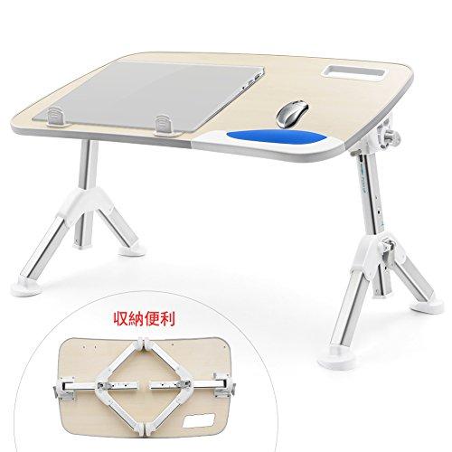 VOOPII ノートパソコン スタンド 折りたたみ テーブル 小型 PC ベッドテーブル 高さ&角度調節可能読書 食事トレイ ベッド ソファ用 パソコンデスク (ホワイト)