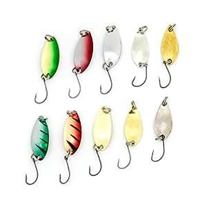 【CRSHIP】様々な色と重さ!汎用性高いスプーンお得な10枚セット 2.5g 5g 渓流 湖 ルアー釣り 管釣りに強い ブラックバスナマズ トラウト雷魚などに狙い 釣り好きな人に最適 (10個6色セット)