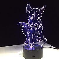 Dtcrzj Ha ハスキー3D犬7色照明子供のベッドサイドスリープルームテーブルデスクランプモデリングLed Usb変更ナイトライトの装飾ギフト