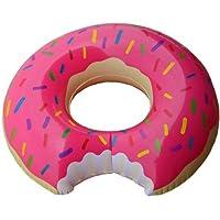 Praxia 大きな かじられた ドーナツ 浮き輪 ピンク 直径 80cm 【オリジナルビニール手提げ袋付属】