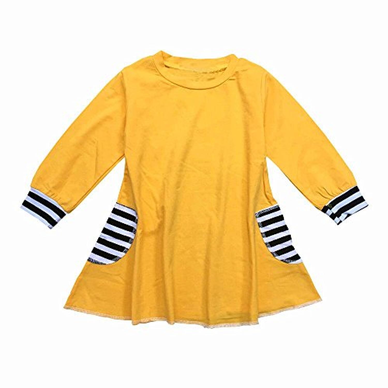 Tovadoo 子供服 ベビー服 女の子 ワンピース 春夏 長袖 イエロー ポケット 縞模様 可愛い プレゼント 通学 旅行 海遊び 6-24ヶ月