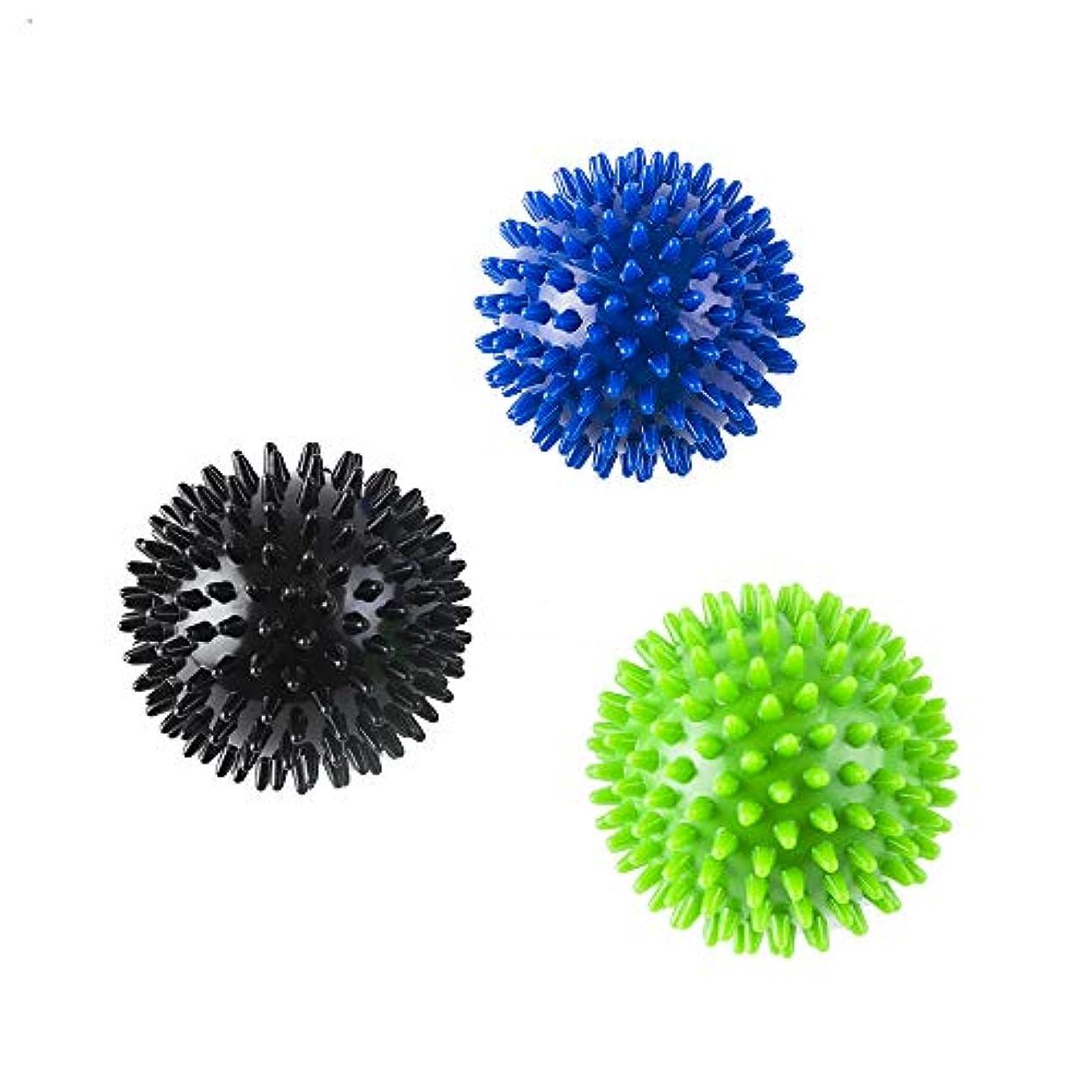 モーションセーブイデオロギーマッサージボール リフレックスボール ストレッチボール 触覚ボール つらい腰痛 肩こり 足裏 手 背中 マッサージに 筋肉緊張和らげ 血液循環促進 エクササイズ ぼーる 8cm 3個セット (青+緑+黒)