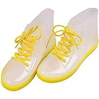 MEIGUIshop Rain Boots - Four Seasons can wear Martin Boots Low to Help Transparent rain Boots