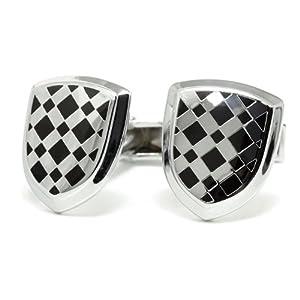 シルバー&ブラックツートン シールド [クール cool系 革調] カフスボタン(カフリンクス) メンズ アクセサリー ワイシャツ ネクタイに合わせてビジネスや結婚式、プレゼントに