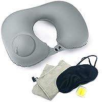 diaVu ネックピロー 手動 プレス式 耳栓 アイマスク 首枕 セット トラベル 旅行 収納ポーチ U型 コンパクト (ムーンライトグレー)