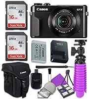Canon PowerShot g7X Mark II Wi - Fiデジタルカメラwith 2x SanDisk 16GB SDメモリカード+三脚+ Canonケース+カードリーダー+クリーニングキット