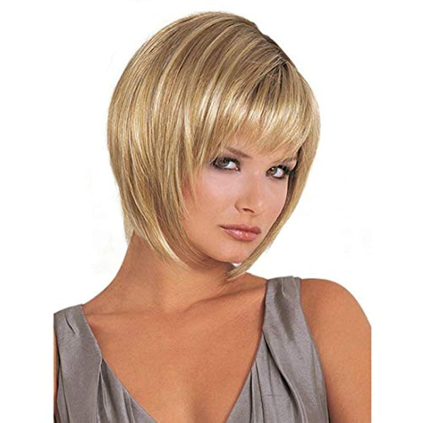 不正印をつけるマリンKerwinner 女性のための平らな前髪の合成かつらとストレートショートボブ髪ゴールドかつら