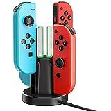 【2021年最新4in1】Joy-Con 充電スタンド 4台同時充電可能 Nintendo Switch用 チャージャー 安全充電 ニンテンドー スイッチ 充電ホルダー 滑り止め 取り付け簡単 充電指示LED付き 充電保護システム
