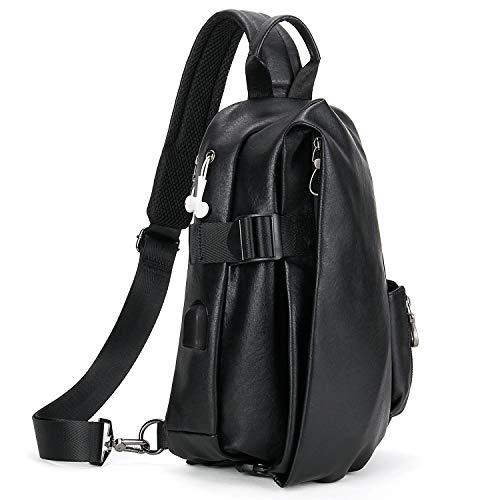 e1f03e7ddb59ac DiDe ワンショルダーバッグ メンズ ボディバッグ 斜めがけ イヤホン穴付 防水 USBポート搭載