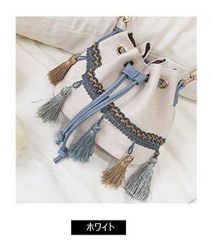 0fb3cfc58f8 安心品質良い☆♥安いし可愛い!♥巾着×フリンジ・ショルダーBAG/大容量 ...