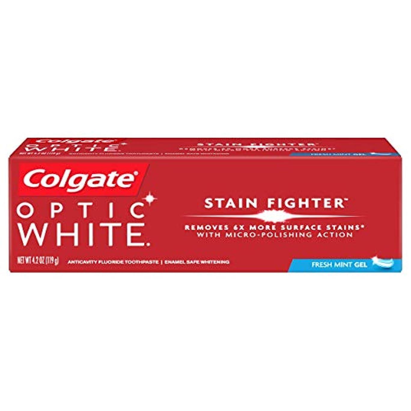 コークスダーリン旅行者コルゲート ホワイトニング Colgate 119g Optic White STAIN FIGHTER 白い歯 歯磨き粉 ミント (Fresh Mint)