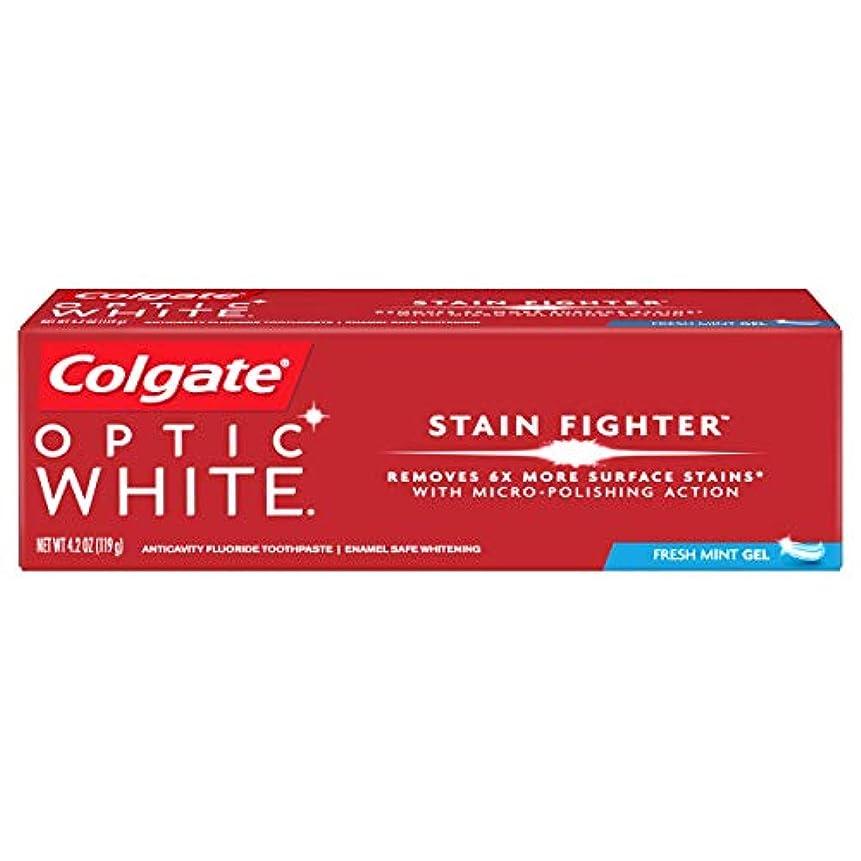 些細お母さんモバイルコルゲート ホワイトニング Colgate 119g Optic White STAIN FIGHTER 白い歯 歯磨き粉 ミント (Fresh Mint)