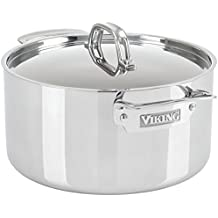 Viking Culinary 3-Ply Stainless Steel Stock Pot 6 Quart 6 Quart Silver
