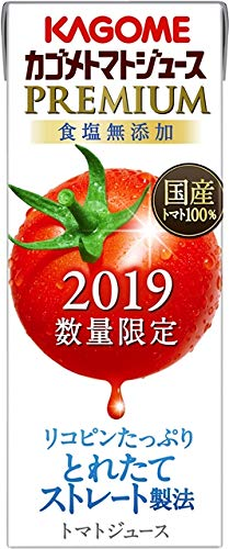 カゴメトマトジュース プレミアム 食塩無添加 紙パック 195ml ×24本