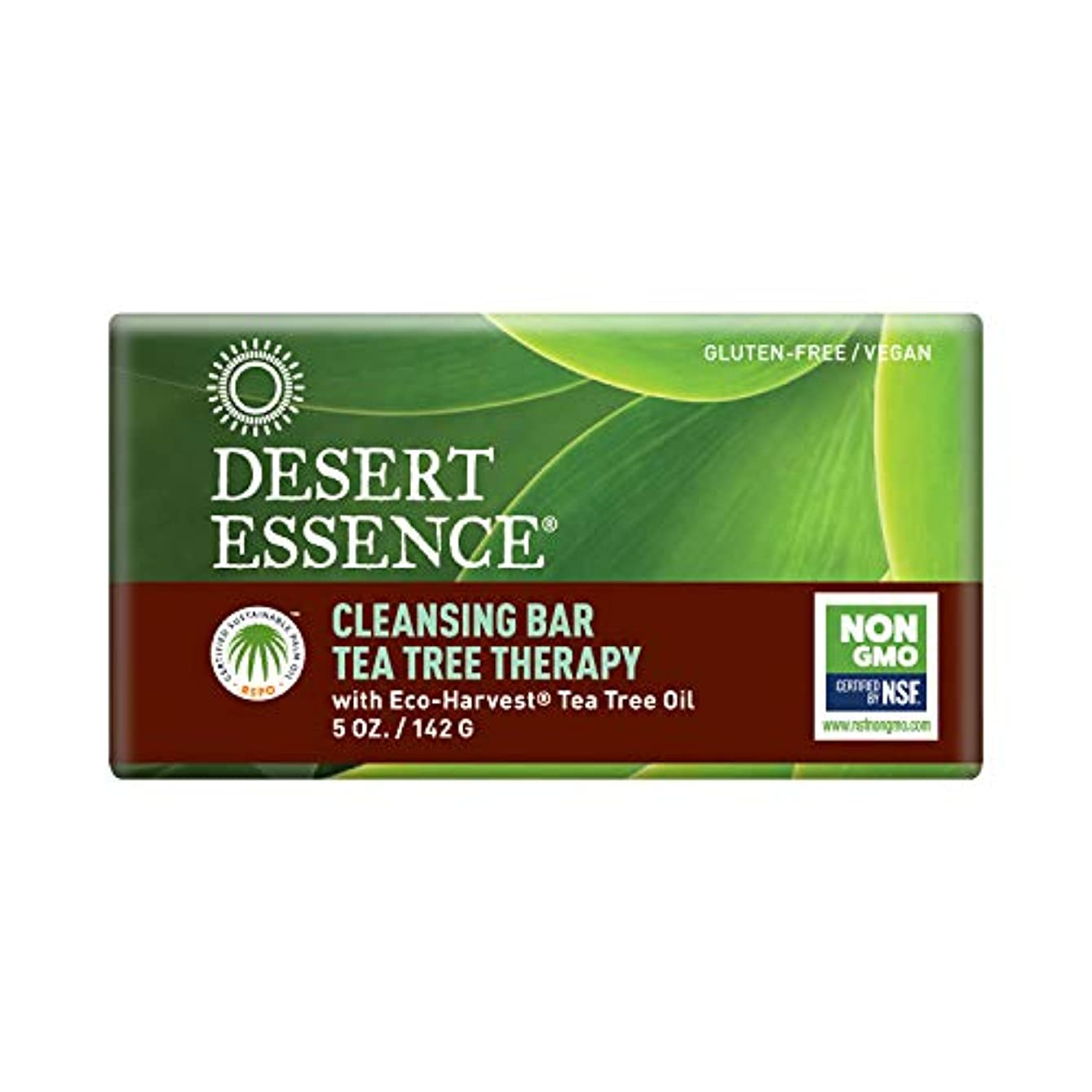 メンタル細菌賢明な海外直送品Desert Essence Tea Tree Therapy Cleansing Bar Soap, 5 oz
