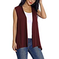 EXCHIC Women's Sleeveless Open Front Cardigan Vest Lightweight Cool Coat