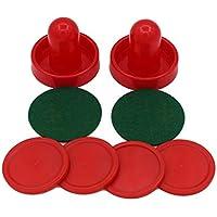 MolySun おもちゃ 子供用 ホーム標準ミニエアホッケー交換60/76/96ミリメートル2プッシャーゴールキーパー4はゲームテーブル機器のために設定されたフェルト 赤76ミリメートル