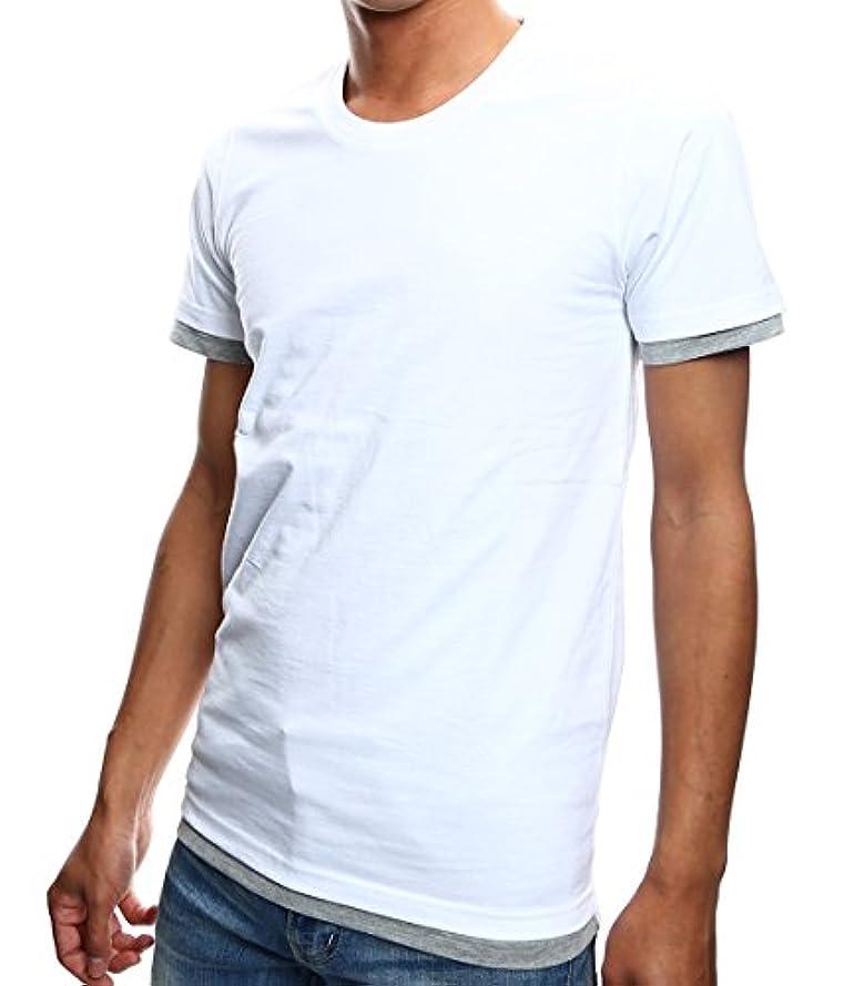トーン火薬航空インプローブス 2枚セット重ね着 Tシャツ レイヤード 半袖 Uネック カットソー メンズ