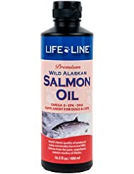 Lifeline Premium Wild Alaskan Salmon Oil Skin Coat Supplement for Dog Cat 16.5z