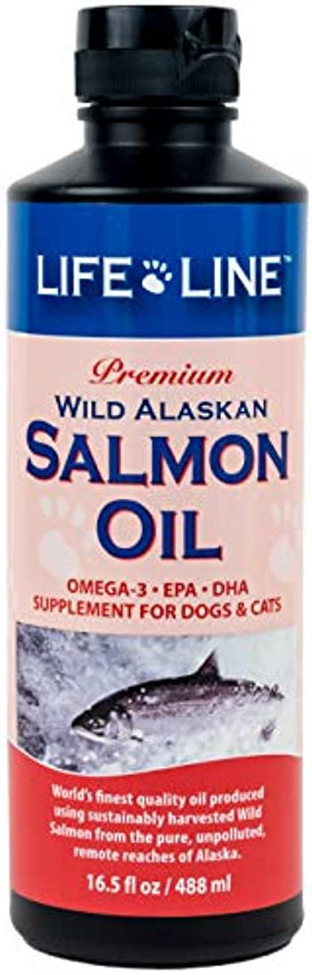 助手新年好ましいLifeline Premium Wild Alaskan Salmon Oil Skin Coat Supplement for Dog Cat 16.5z