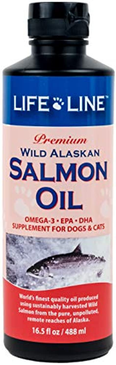 何よりも繁栄する感覚Lifeline Premium Wild Alaskan Salmon Oil Skin Coat Supplement for Dog Cat 16.5z