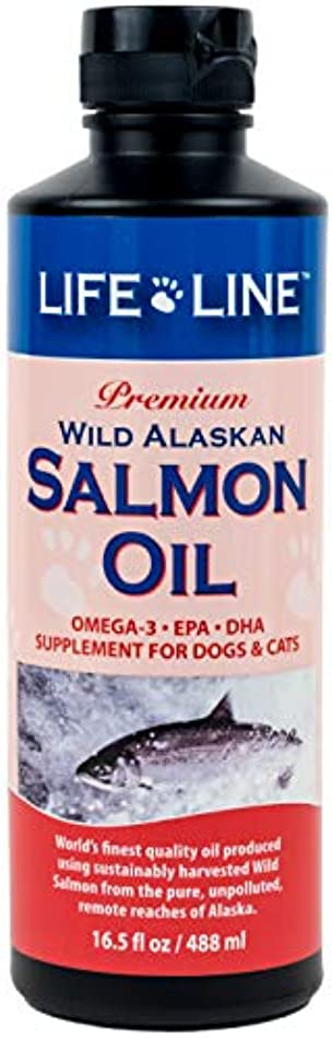 急性輸送合唱団Lifeline Premium Wild Alaskan Salmon Oil Skin Coat Supplement for Dog Cat 16.5z