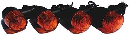 Officek 汎用 160型 ヨーロピアン ウインカー 取付けステー付 丸型 ブラック ボディー 黒 丸小 4個セット (オレンジ)