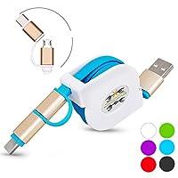 [LivelyLife] 2in1 micro USB ケーブル Type C ケーブル 巻き取り 1本2役 急速充電 2.1A タイプC ケーブル Android 充電ケーブル(ブルー)
