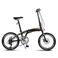 大人 折りたたみ自転車, 学生折りたたみ自転車 アルミニウム合金 シマノ 7 スピード デュアル ディスク ブレーキ 男女 折りたたみ自転車-黒 20inch