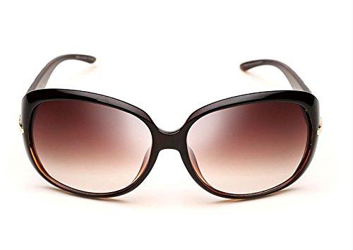 レディースサングラス、偏光 レンズ 、UV400カット、紫外線防止 、サングラス、ケース&メガネ拭きの3点セット ((柄フーレム04茶色)
