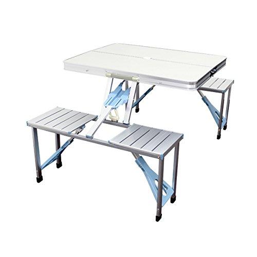 MERMONT アウトドア テーブル レジャーテーブル ベンチセット パラソル穴付き
