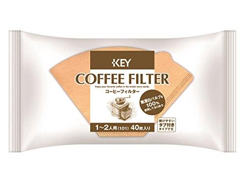 キーコーヒー コーヒーフィルター 1-2人用 無漂白 タブ付き 40枚入