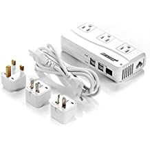 Power Adapter for US/JP Devices, BESTEK 220V to 110V Step-Down Voltage Converter-Transformer with 6A 4-Port USB Charging and UK/AU/US/EU Worldwide Plug Adapters