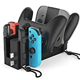 Bestand 充電ドック対応Nintendo Switch Proコントローラー& Joy-Con、Switch充電スタンド、4 in 1スイッチ充電器 C4