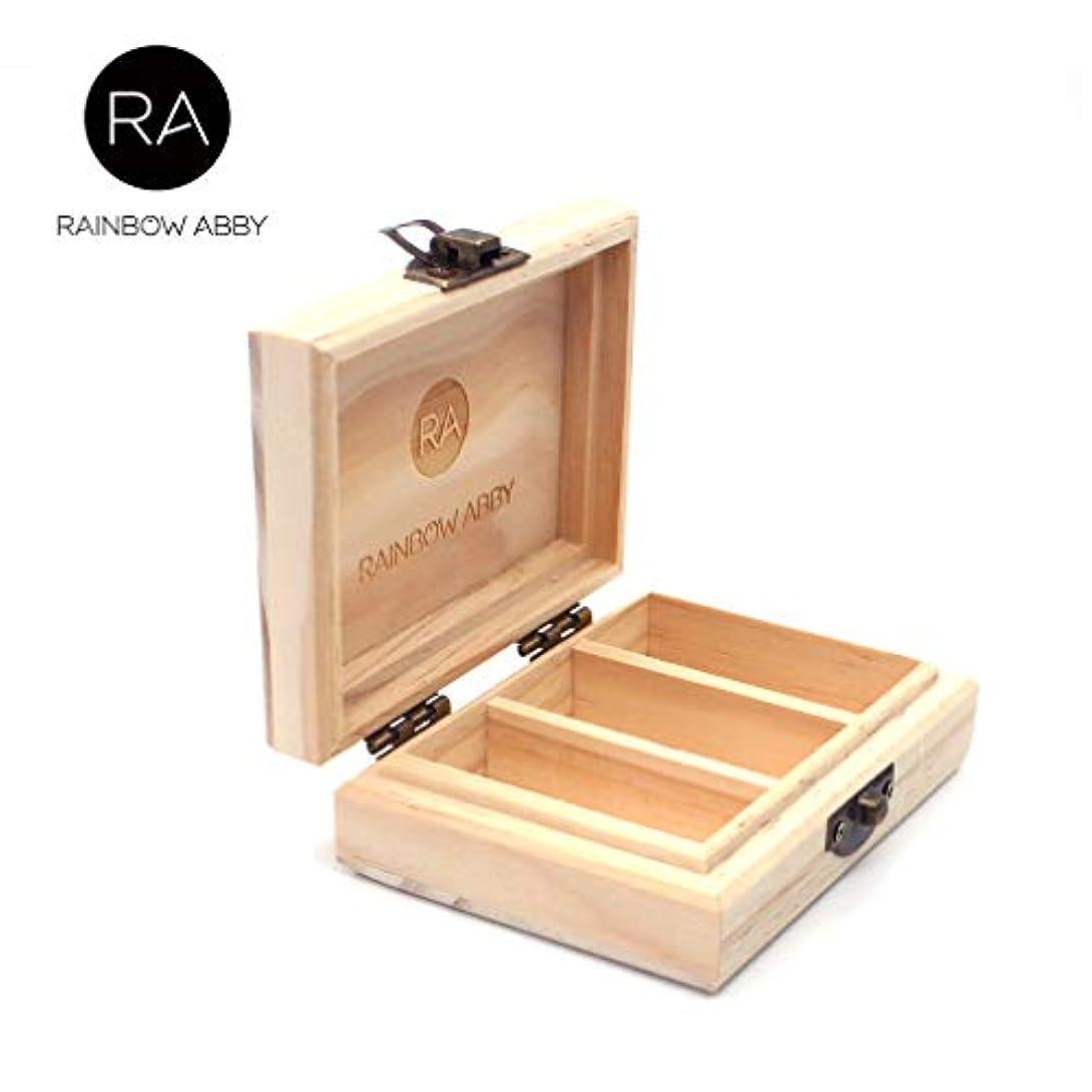 いらいらさせる合理化信頼性RAINBOW ABBY エッセンシャル オイル スモール 木製 キャリー ケース 3スロット/3 本のボトル10ml 保持 4.3 ×3.2 ×1.5 インチ カスタマイズ 自然 マツ木 エッセンシャル オイル 貯蔵箱...