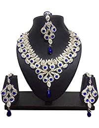 CROWN JEWEL Indian Designer Bollywood Fashion Bridal Jewelry Necklace Earring Set for Women
