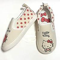 Kid Shoes Hello Kitty Canvas Loafer Easy-Walking Slip-on Cute Cartoon Sneaker (9 Big Kid) Off White