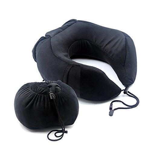 (バリュートム)Valuetom トラベル ネックピロー 自体収納ケース付き 持ち便利 低反発 旅行用 頚椎保護 心地いい肌触り 首枕 ブラック