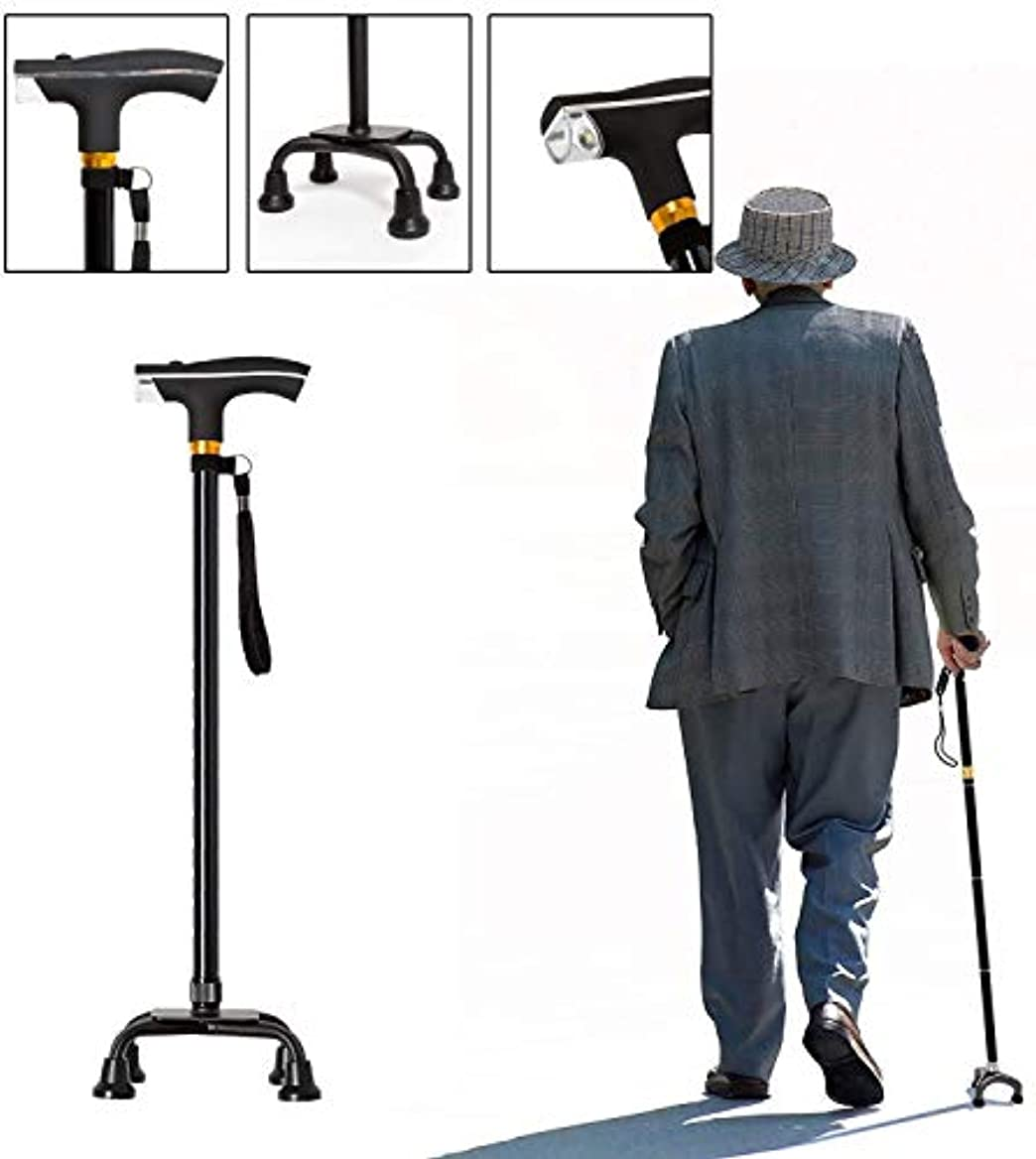 誓約飢路地高齢者の男性や女性のための杖アルミ合金の杖5調節可能な高さの杖LEDライトロードベアリング付き150kg無効杖
