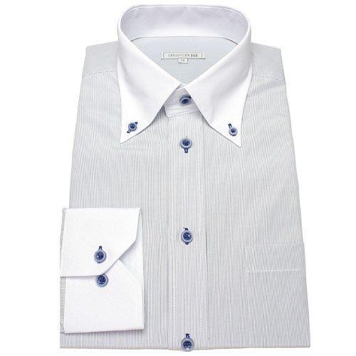 襟高デザイン ドレスシャツ ボタンダウン クレリック 長袖ワイシャツ (Yシャツ)