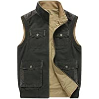 CRYSULLY Men's Reversible Cotton Casual Gilet Vest Outdoor Multi Pockets Full Zip Fish Cargo Vests