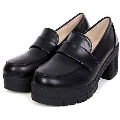 レディース 学生靴 幅広 ローファー 学生 通学 入学 卒業 スリッパ コスプレシューズ (39M24.5cm, ブラック)