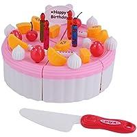 知育玩具 創造的な誕生日ケーキ子供のためのDIYモデル子供たちの早期教育クラシックのおもちゃはキッチン食べ物プラスチックおもちゃをプレイする ピンク
