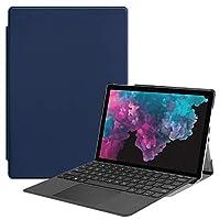 Surface Pro 6 ケース 【COKOVI】 Surface Pro 5 ケース Surface Pro 4 ケース スタンド機能 全面保護 PUレザー 軽量型 傷つけ防止 Surface Pro 4 /5 /6 兼用 (ブルー)